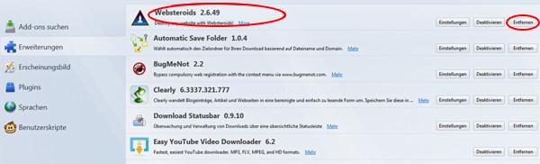 websteroids entfernen windows 7
