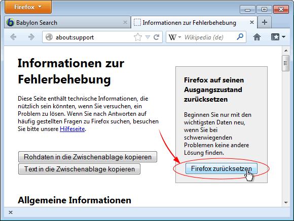 Firefox Zurücksetzen