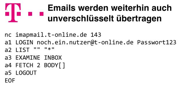 Emails werden weiterhin auch unverschlüsselt übertragen