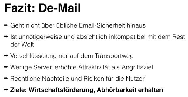 Fazit: De-Mail