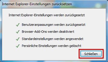 Internet Explorer Zurücksetzen