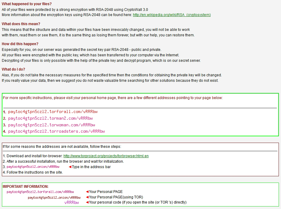 Die HELP_DECRYPT Datei die Opfern von CryptoWall 3.0 angezeigt wird