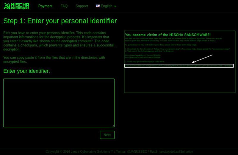 Mischa Ransomware Zahlungsseite