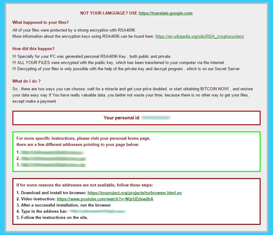 HTML-Ausgabe des Lösegeldes Anweisungen