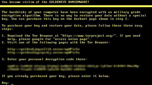 Der Goldeneye Ransomware Sperrbildschirm