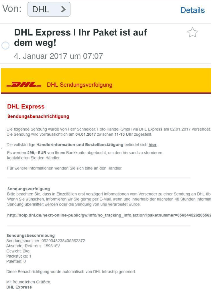DHL Scam Emails