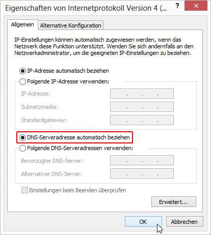 DNS-Serveradresse automatisch beziehen