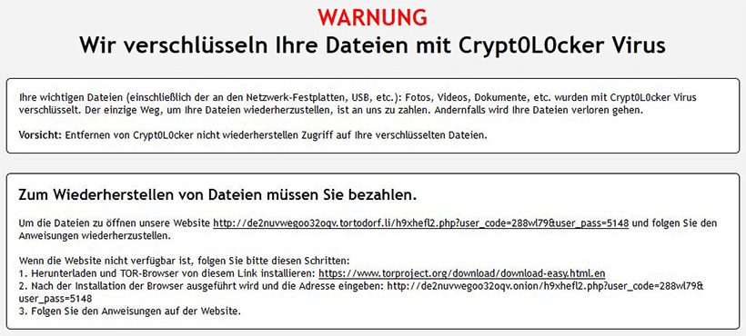 Warnbildschirm von Crypt0L0cker