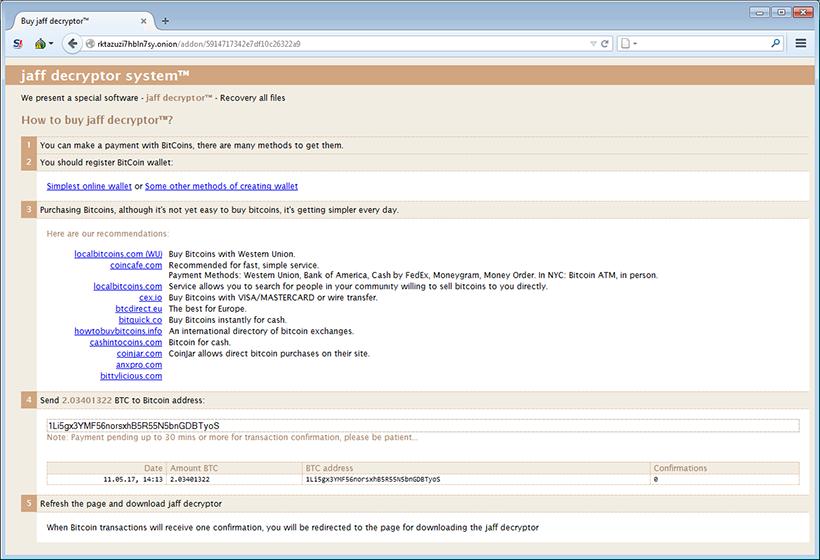 Jaff Decryptor Webseite