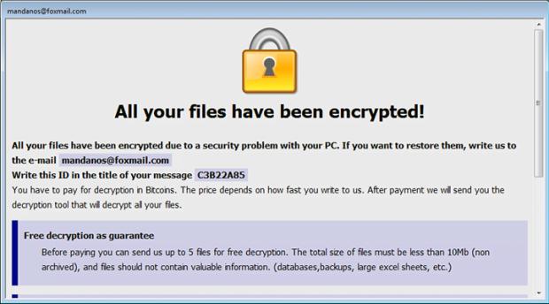 Cesar ransomware Info.hta Rettungshinweis