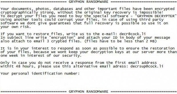 Gryphon ransomware Lösegeld Daten