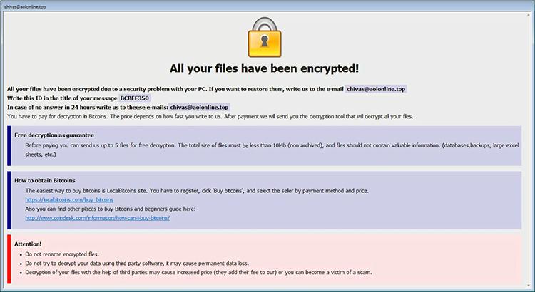 Info.hta Rettungshinweis von Arena ransomware