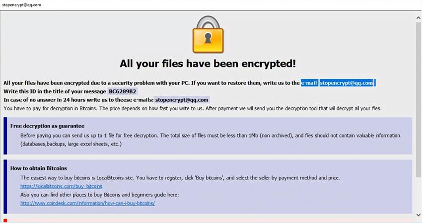Der .adobe  Datei-Virus zeigt die HTA Lösegeldforderung an