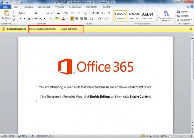Microsoft Office Makros sind der Hauptangriffsvektor für den Emotet-Schadsoftware