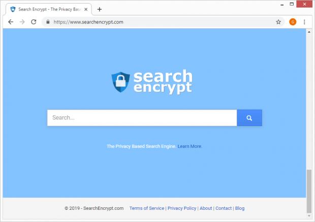 Die Startseite von Search Encrypt