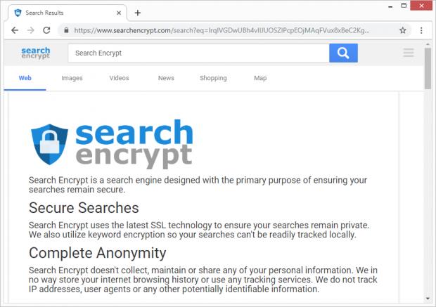 Suchanfrage umgeleitet zu searchencrypt.com