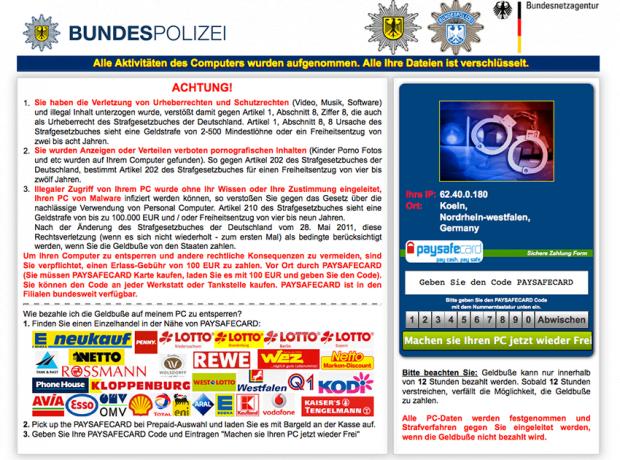 Browsersperrvariante des BKA Bundespolizei Lösegeld-Trojaners