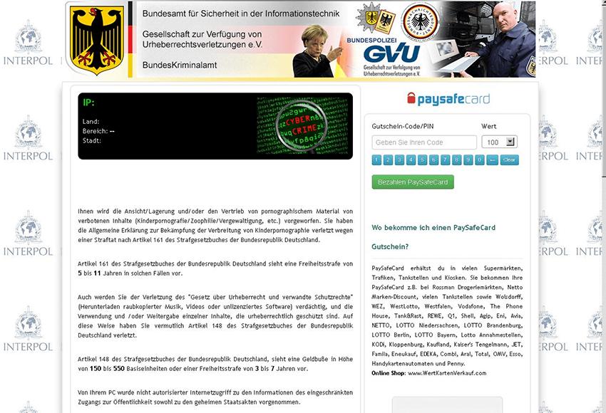 BKA-Trojaner zeigt einen gefälschten Sperre-Bildschirm mit gefälschten Anschuldigungen