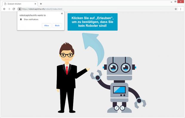 Der Robot Captcha-Virus bewirkt, dass der Browser zur Website robotcaptcha.info weiterleitet