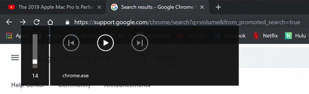 Das chrome.exe Lautstärke-Popup in Google Chrome