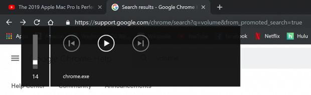 Das chrome.exe Lautstärke-Popup in Google Chrome