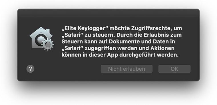 Elite Keylogger möchte Zugriff auf die Steuerung von Safari