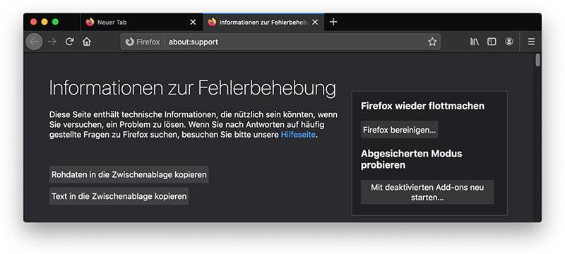 Firefox bereinigen