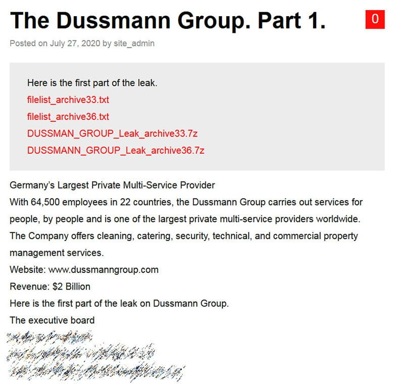 Ein Teil der Daten der Dussmann-Gruppe, veröffentlicht von der ransomware group